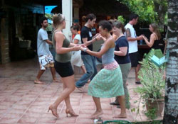 Spanish language school dancing activity in Bocas del Toro